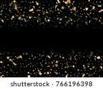 gold glitter confeti falling... | Shutterstock .eps vector #766196398