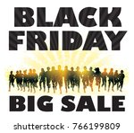 black friday. crowd of running... | Shutterstock .eps vector #766199809
