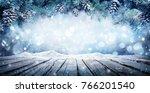 winter display   fir branches... | Shutterstock . vector #766201540