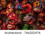 masks  souvenirs of maya...   Shutterstock . vector #766202476