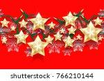 christmas seamless horizontal... | Shutterstock .eps vector #766210144