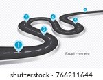 winding 3d road infographic... | Shutterstock .eps vector #766211644