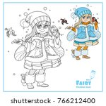 winter fairy feeds the... | Shutterstock .eps vector #766212400