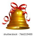 golden bell with red ribbon... | Shutterstock .eps vector #766215400