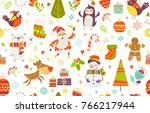 seamless pattern of funny... | Shutterstock .eps vector #766217944