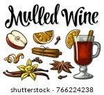 grog with glass and ingredients.... | Shutterstock .eps vector #766224238
