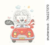 Stock vector lion in car hand drawn vector illustration can be used for kid s or baby s shirt design fashion 766227370