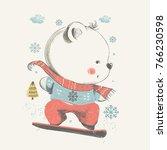 cute beear snowboarding.hand... | Shutterstock .eps vector #766230598
