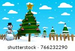 christmas scene with a snow man ... | Shutterstock . vector #766232290