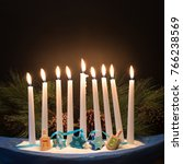 happy hanukkah menorah with... | Shutterstock . vector #766238569
