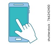 hand with smartphone device | Shutterstock .eps vector #766242400