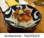 salmon don  salmon sashimi rice ... | Shutterstock . vector #766245214