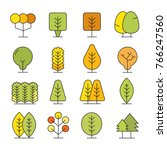 colorful autumn tree icons | Shutterstock .eps vector #766247560