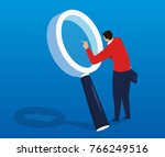 man looks through a magnifying... | Shutterstock .eps vector #766249516