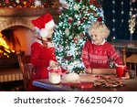 children baking christmas... | Shutterstock . vector #766250470