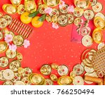 chinese new year ornament  gold ... | Shutterstock . vector #766250494