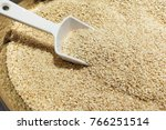 heap of white sesame seeds with ... | Shutterstock . vector #766251514