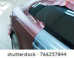 pasting of car carbonic plastic ... | Shutterstock . vector #766257844