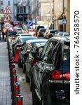 car parking on  narrow street... | Shutterstock . vector #766258570