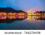 building along lake in sapa... | Shutterstock . vector #766276438