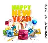 happy new year 2018   flyer...   Shutterstock .eps vector #766276570