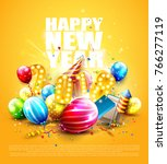 happy new year 2018   flyer... | Shutterstock .eps vector #766277119