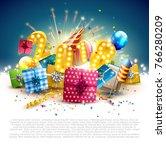 happy new year 2018   flyer... | Shutterstock .eps vector #766280209