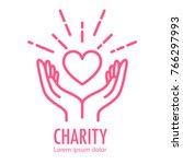 heart in hands symbol line icon.... | Shutterstock . vector #766297993