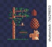 pixel art set. spruce with... | Shutterstock .eps vector #766298053