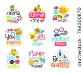 vector poster collection with... | Shutterstock .eps vector #766300870