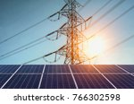 solar panels with  electricity... | Shutterstock . vector #766302598