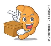 with box croissant character... | Shutterstock .eps vector #766305244