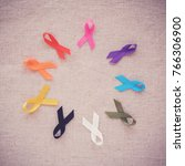 colorful ribbons  cancer... | Shutterstock . vector #766306900