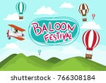 hot air balloon in the sky... | Shutterstock .eps vector #766308184