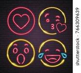 emoji set neon light glowing... | Shutterstock .eps vector #766309639