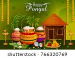 happy pongal religious holiday... | Shutterstock .eps vector #766320769