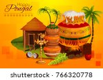 happy pongal religious holiday... | Shutterstock .eps vector #766320778