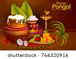 happy pongal religious holiday... | Shutterstock .eps vector #766320916