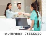 patients consulting the dentist ... | Shutterstock . vector #766323130