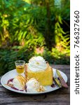 honey toast with ice cream for... | Shutterstock . vector #766327660