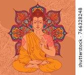 buddha in meditation on... | Shutterstock .eps vector #766328248