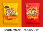 set of two packaging with chips ... | Shutterstock .eps vector #766329049