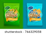 set of two packaging with chips ... | Shutterstock .eps vector #766329058