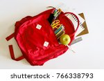 backpack with school supplies... | Shutterstock . vector #766338793