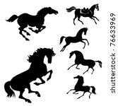 set of the horses on white... | Shutterstock . vector #76633969
