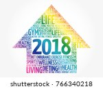 2018 goals arrow  health word... | Shutterstock .eps vector #766340218