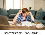 young sad worried and desperate ... | Shutterstock . vector #766350343