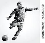 soccer player kicking the ball...   Shutterstock .eps vector #766353010