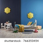 blue wall and dark blue panel... | Shutterstock . vector #766353454
