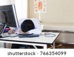 exhausted of doctor overwork...   Shutterstock . vector #766354099